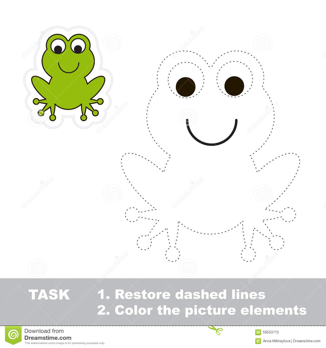 One Cartoon Green Frog To Be Traced Stock Vector