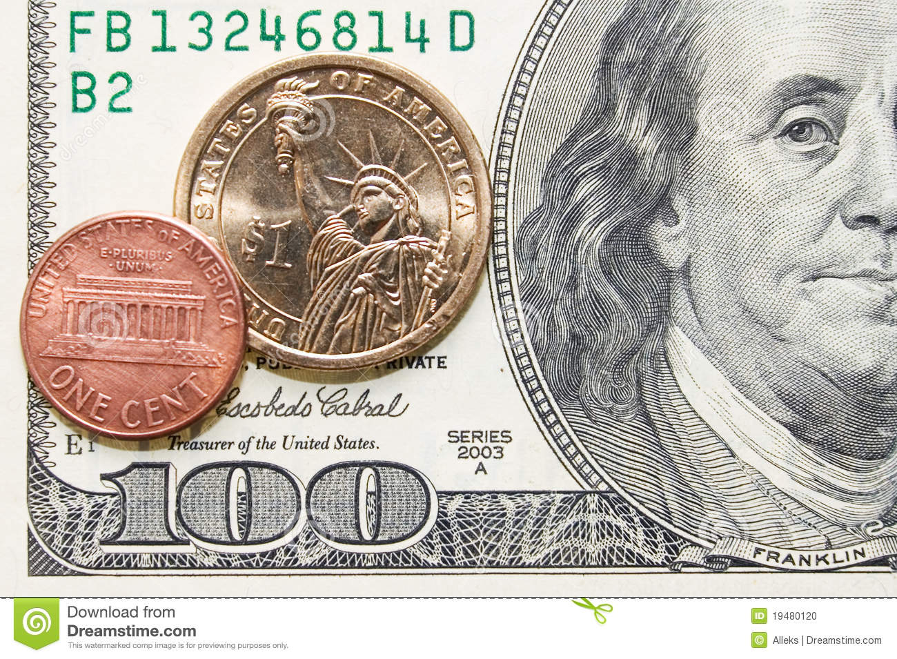 One Cent And Dollar Coins On One Hundred Bill Stock Photo