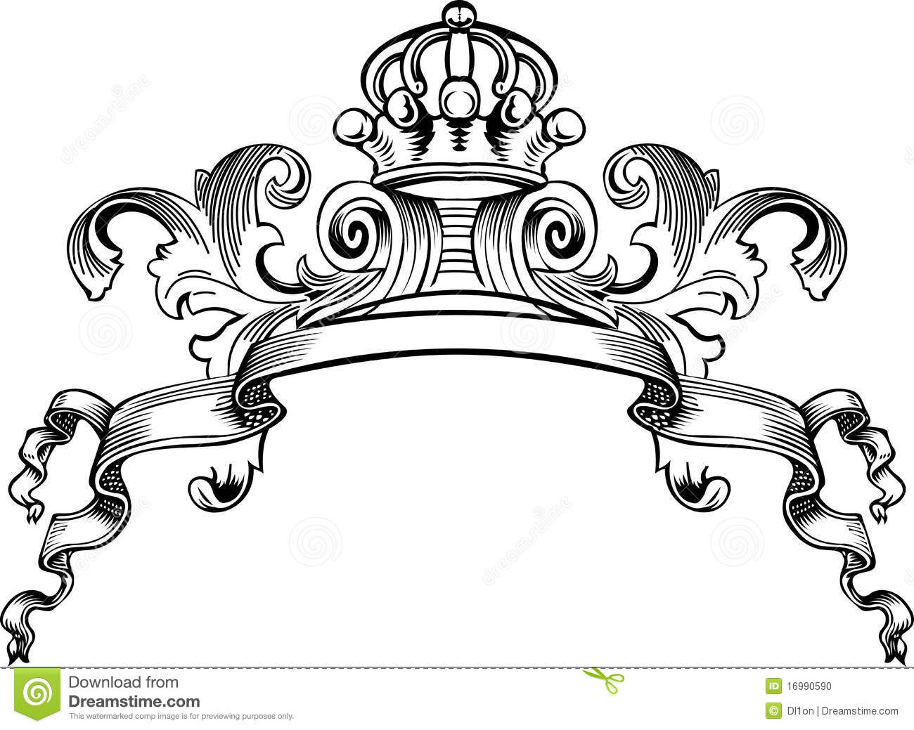 One Color Royal Crown Vintage Banner Stock Vector