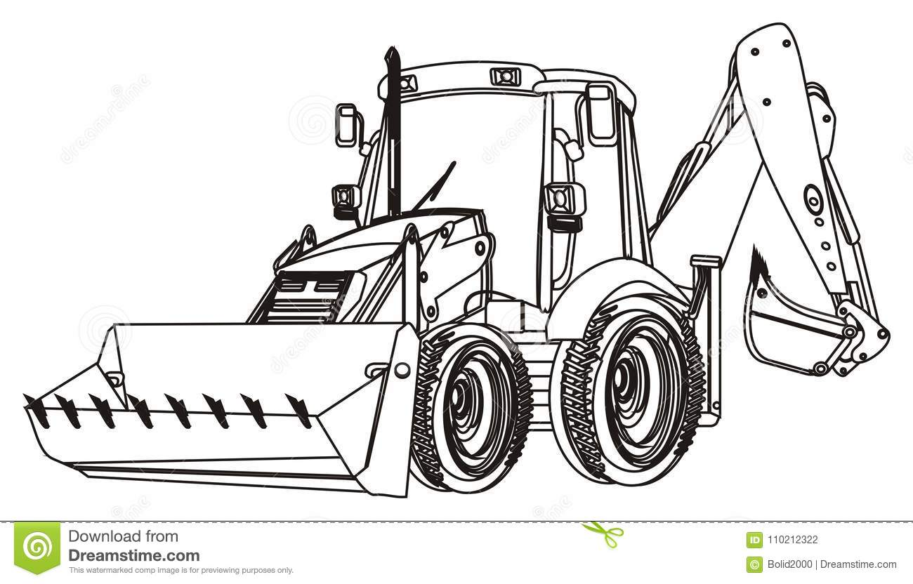 One Coloring Excavator Stock Illustration Illustration Of
