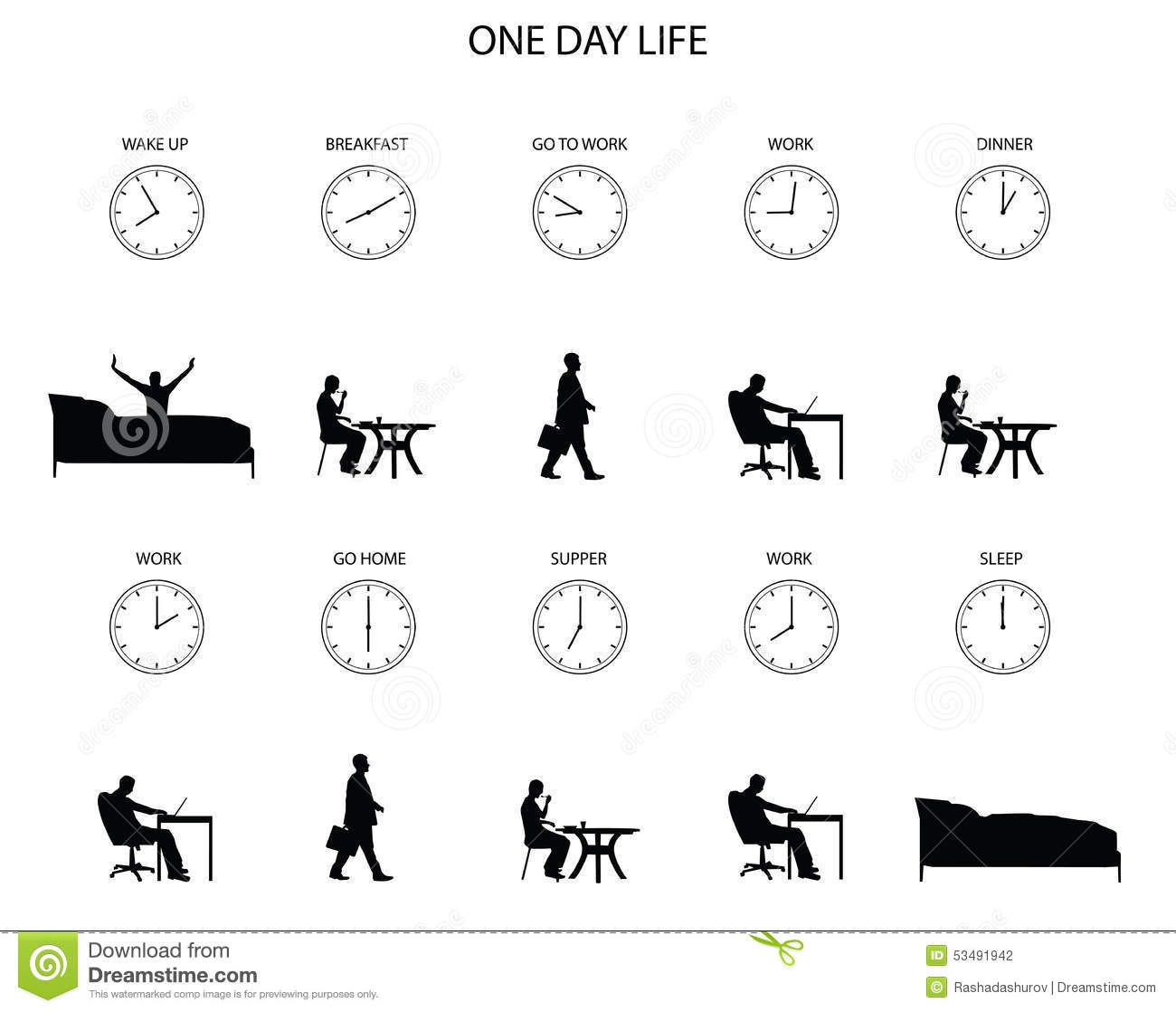 One Day Life Of Office Worker Stock Vector