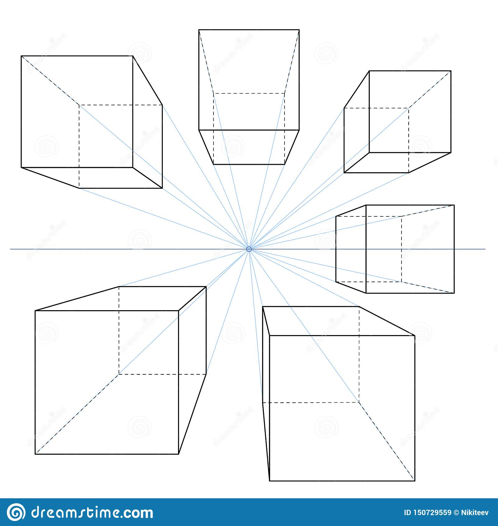 One Point Perspective Line Drawings Vector Set Of Cubes