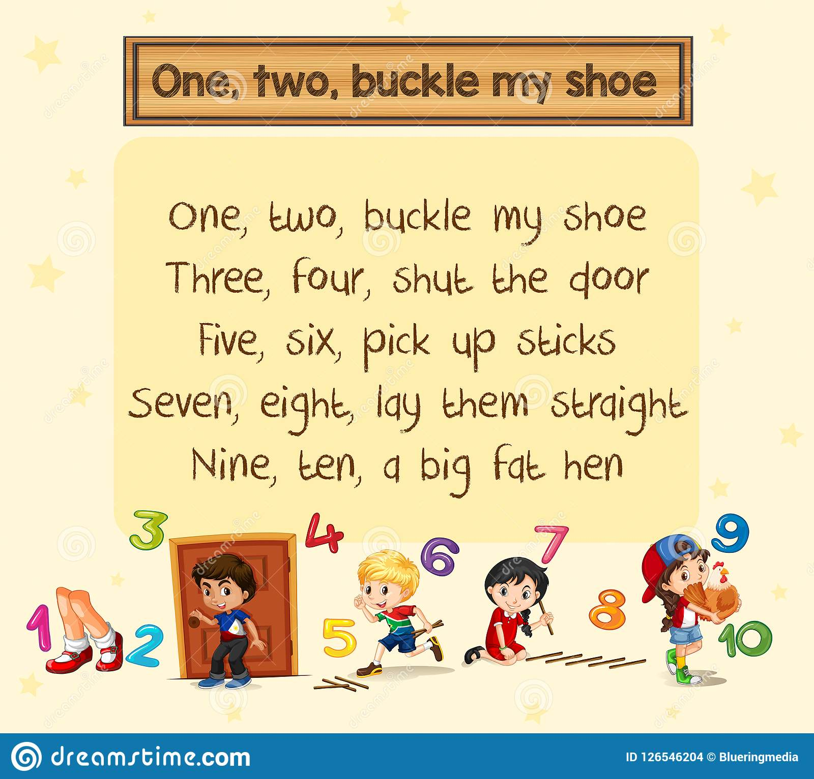One Two Buckle My Shoe Song Stock Vector