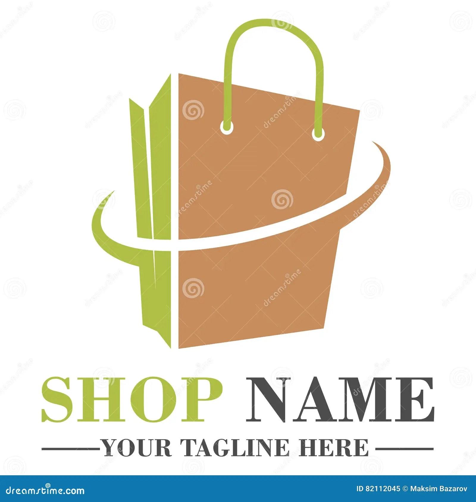 Online Shop Logo Template Design Stock Vector Illustration