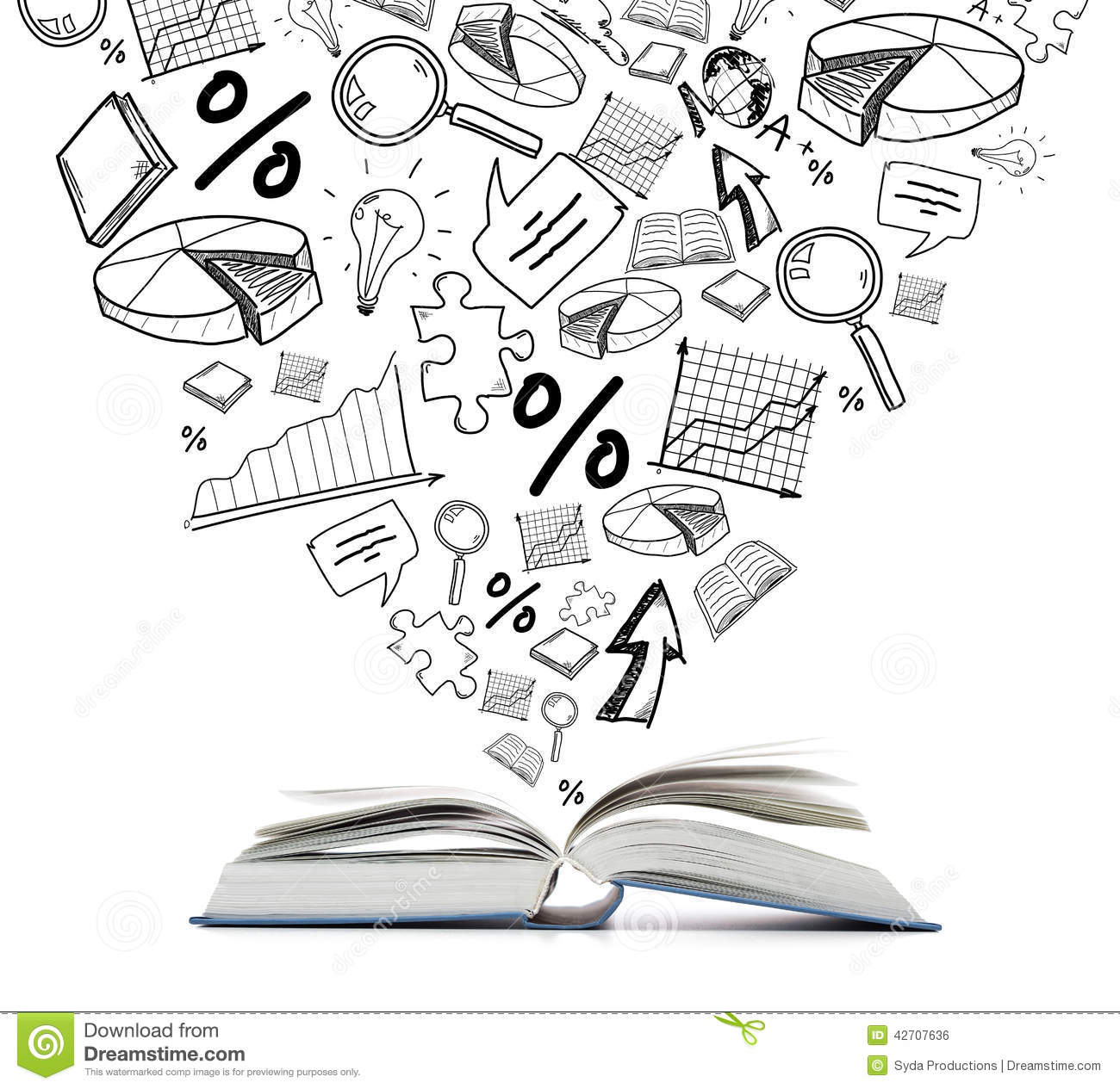 Open Book On The Table Stock Illustration Image Of Many