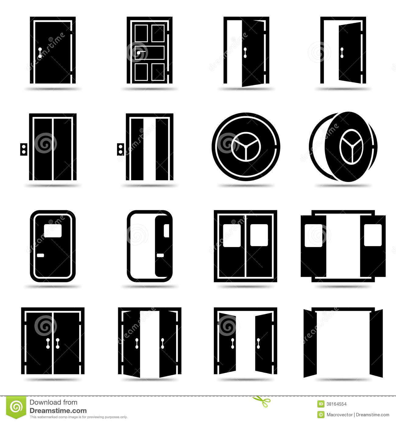 Open And Closed Doors Icons Set Stock Vector