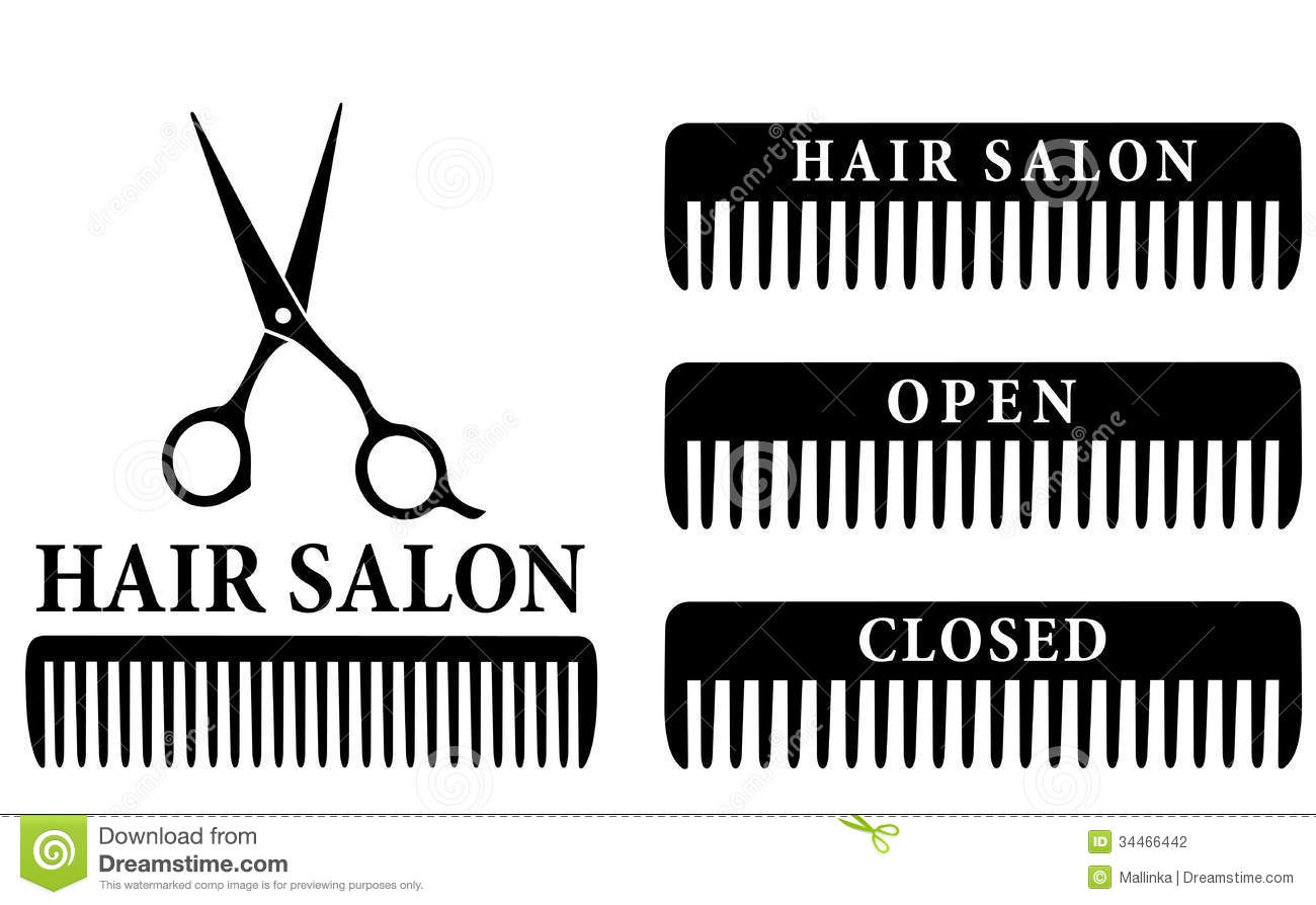 Open And Closed Hair Salon Sign With Scissors And Stock