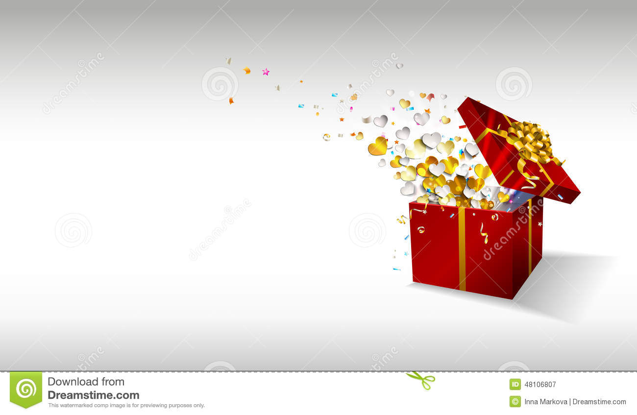 Open Gift With Fireworks From Confetti And Hearts On White