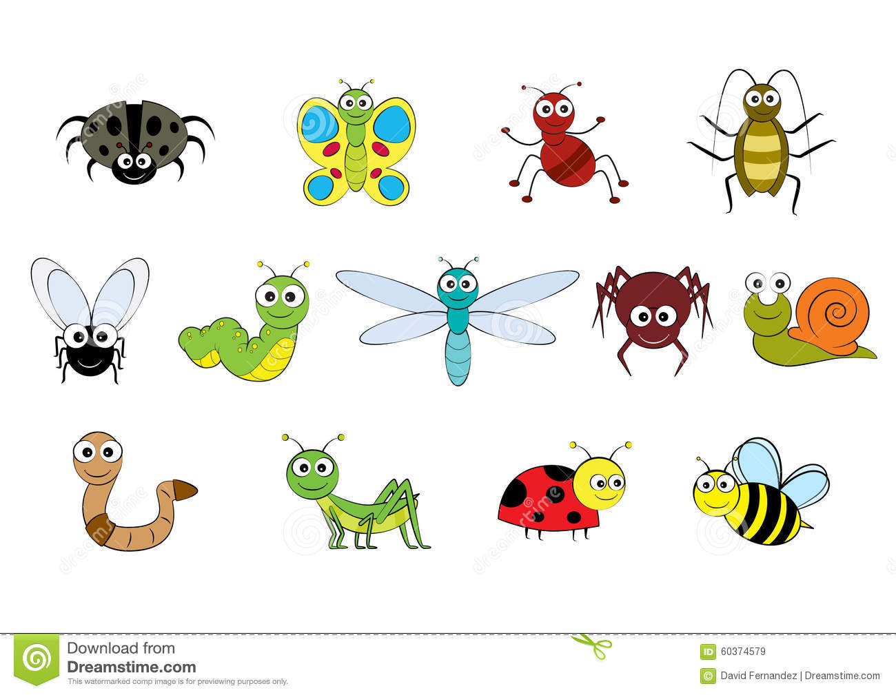Vector Cartoon Style Mini Beasts Illustration Stock Vector