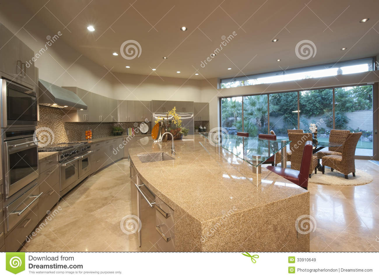 Open Plan Kitchen With Dining Area Royalty Free Stock