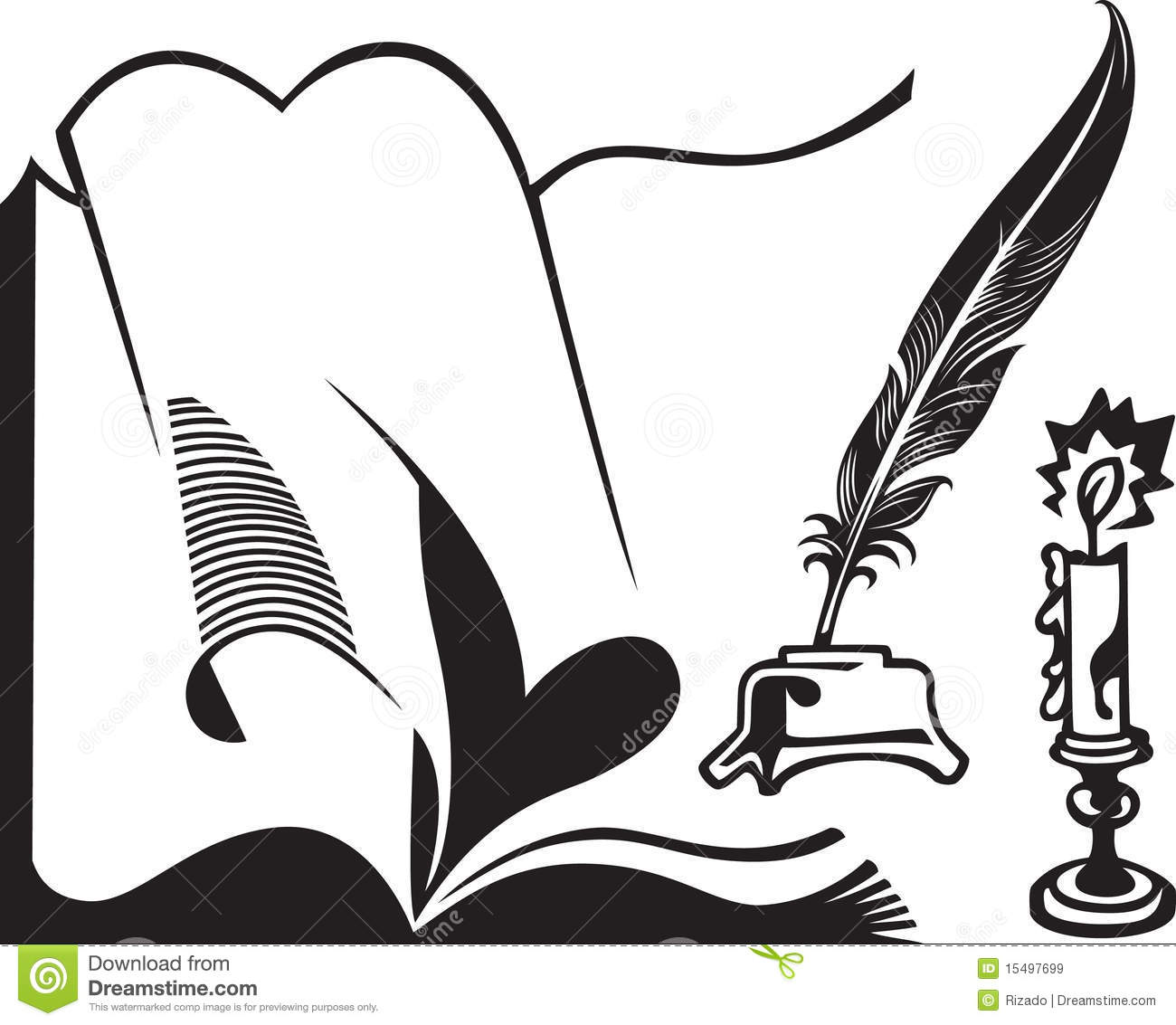 Opened Book Quill And Candle Stock Vector
