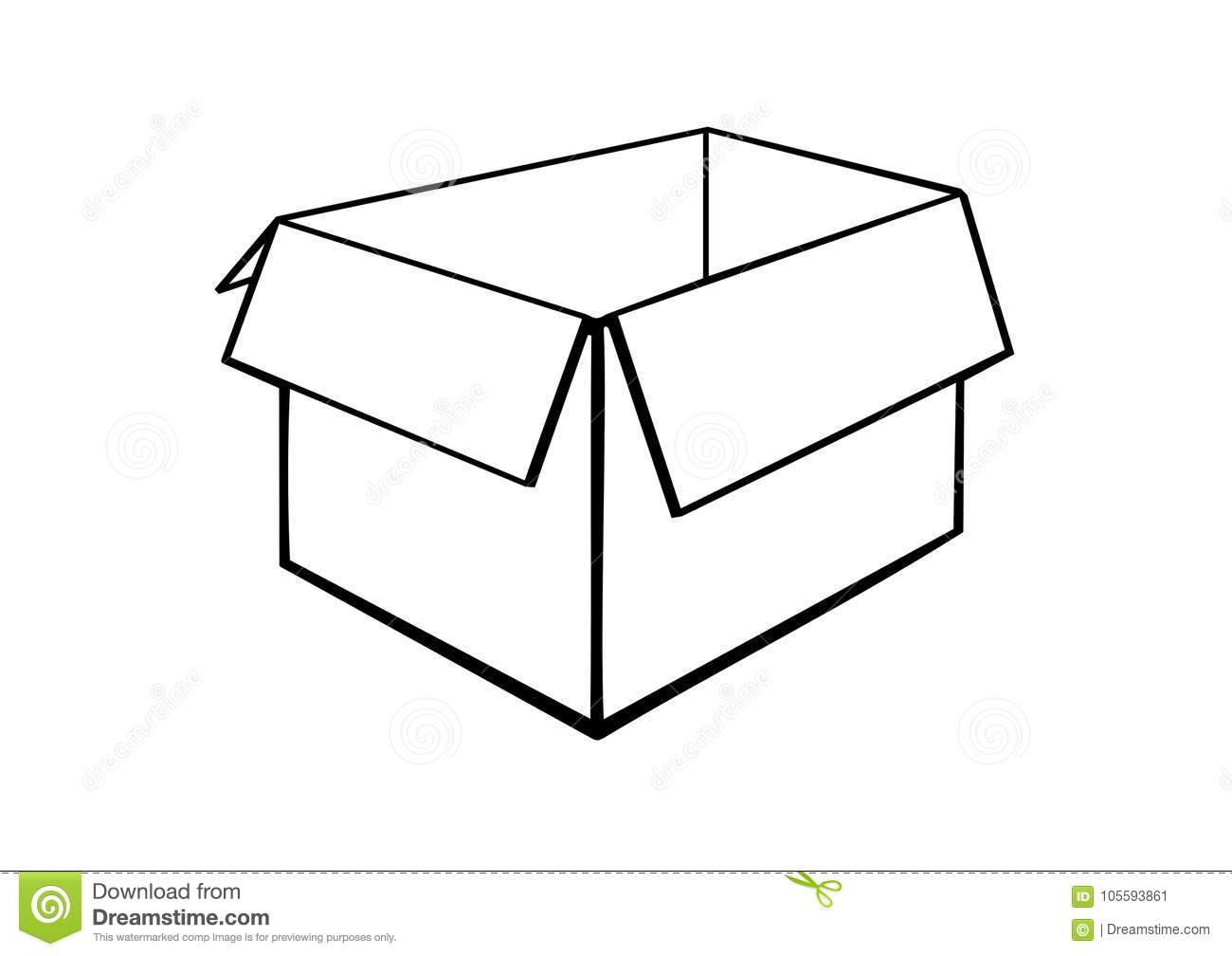 An Opened Cardboard Box Stock Vector Illustration Of