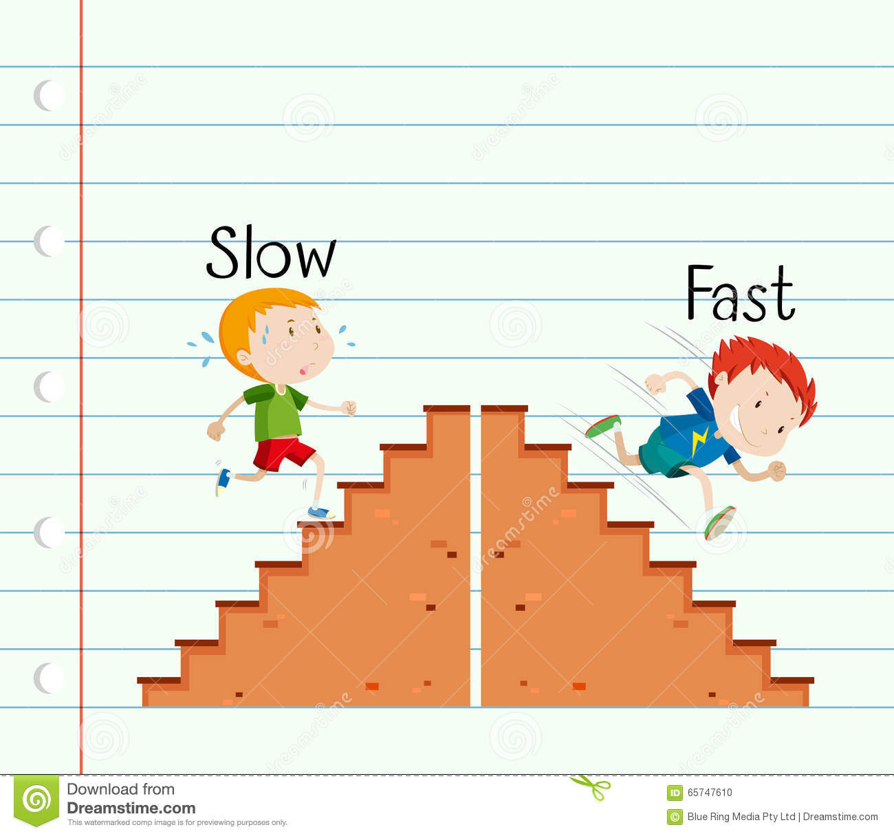 Opposite Adjective Slow And Fast Stock Vector