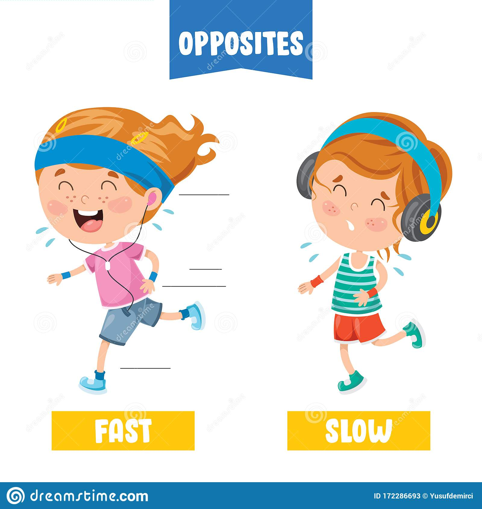 Opposite Adjectives With Cartoon Drawings Stock