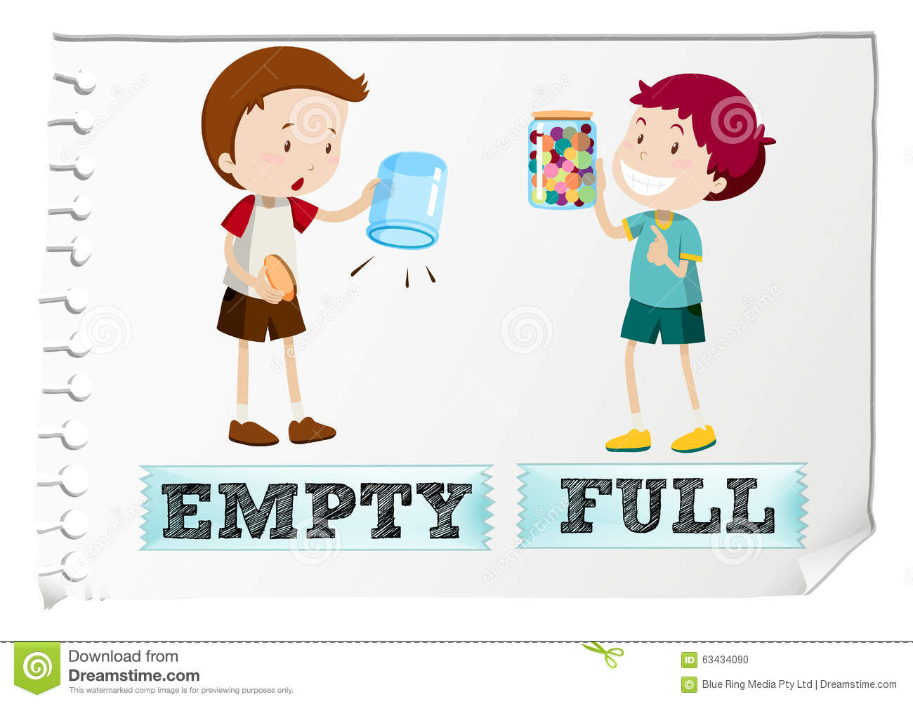 Opposite Adjectives With Empty And Full Stock Vector