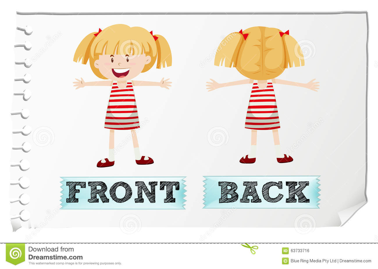 Opposite Adjectives Front And Back Stock Vector