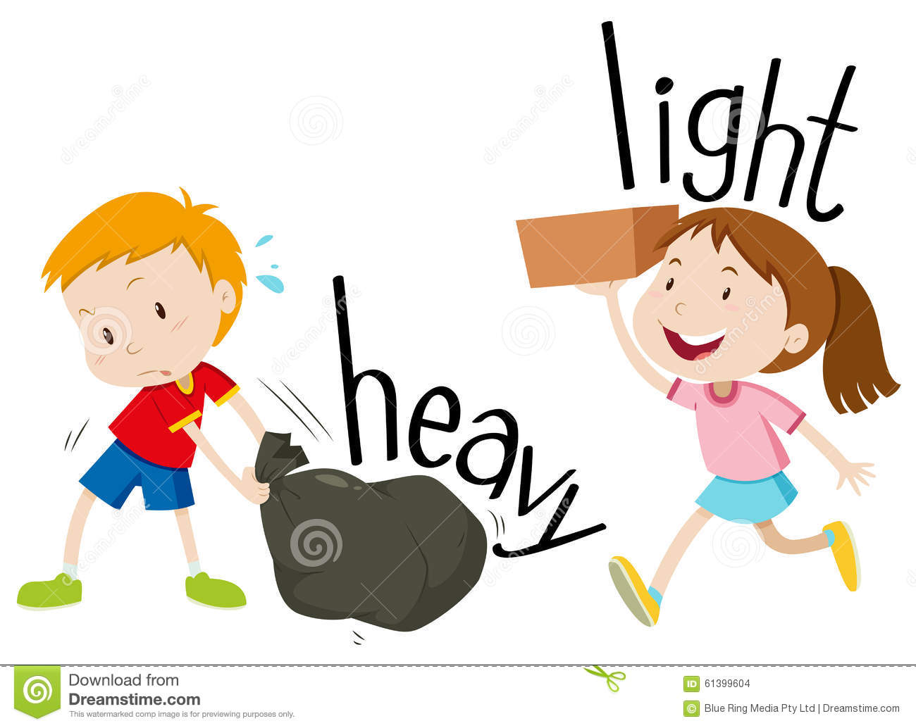 Opposite Adjectives Heavy And Light Stock Vector