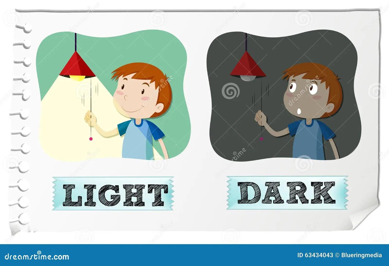 Opposite Adjectives Light And Dark Stock Vector