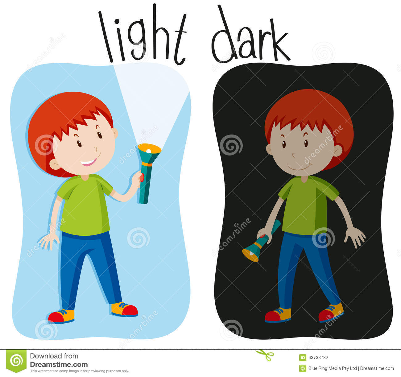 Opposite Adjectives With Light And Dark Stock Vector