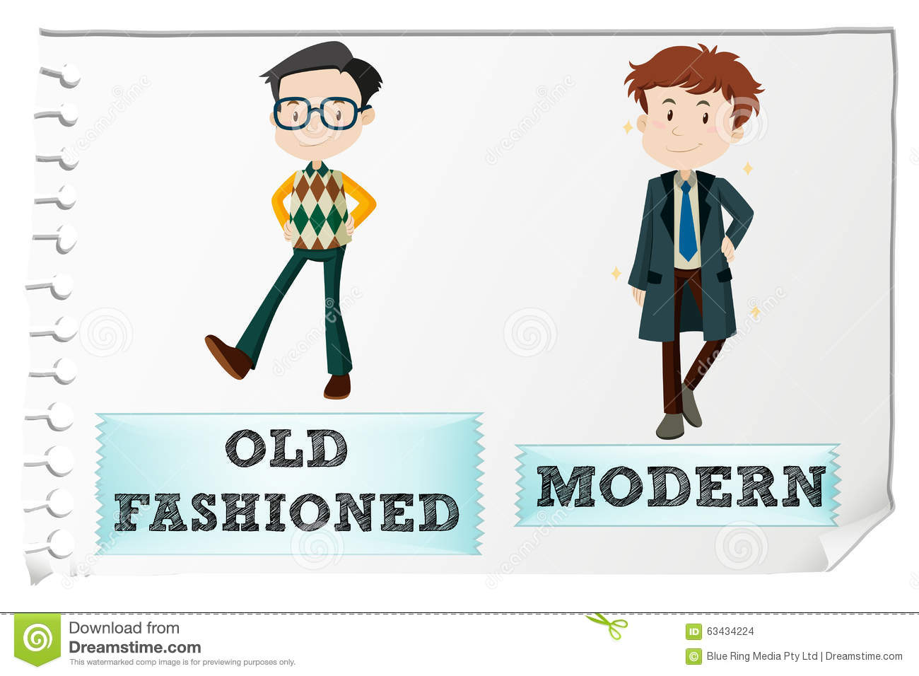 Opposite Adjectives With Old Fashioned And Modern Stock
