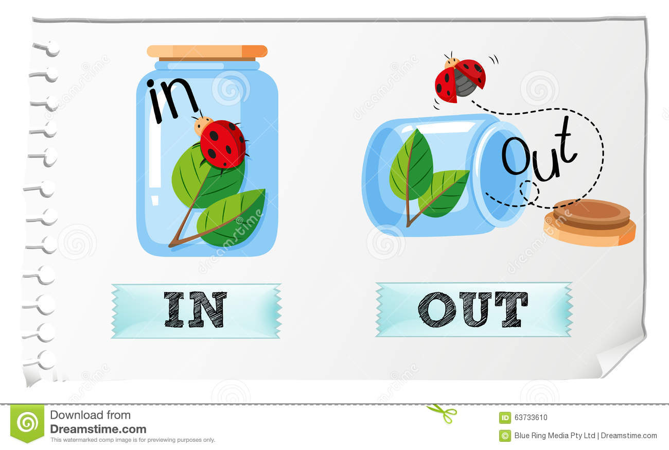 Opposite Adjectives In And Out Stock Vector