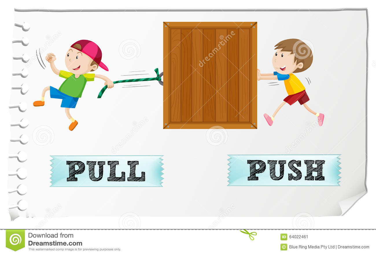 Opposite Adjectives Pull And Push Stock Vector