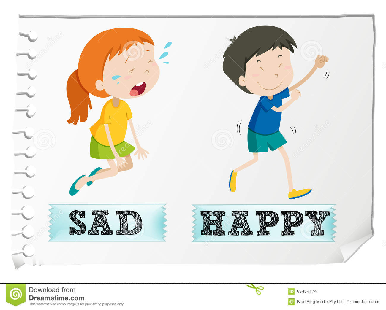 Opposite Adjectives With Sad And Happy Stock Vector