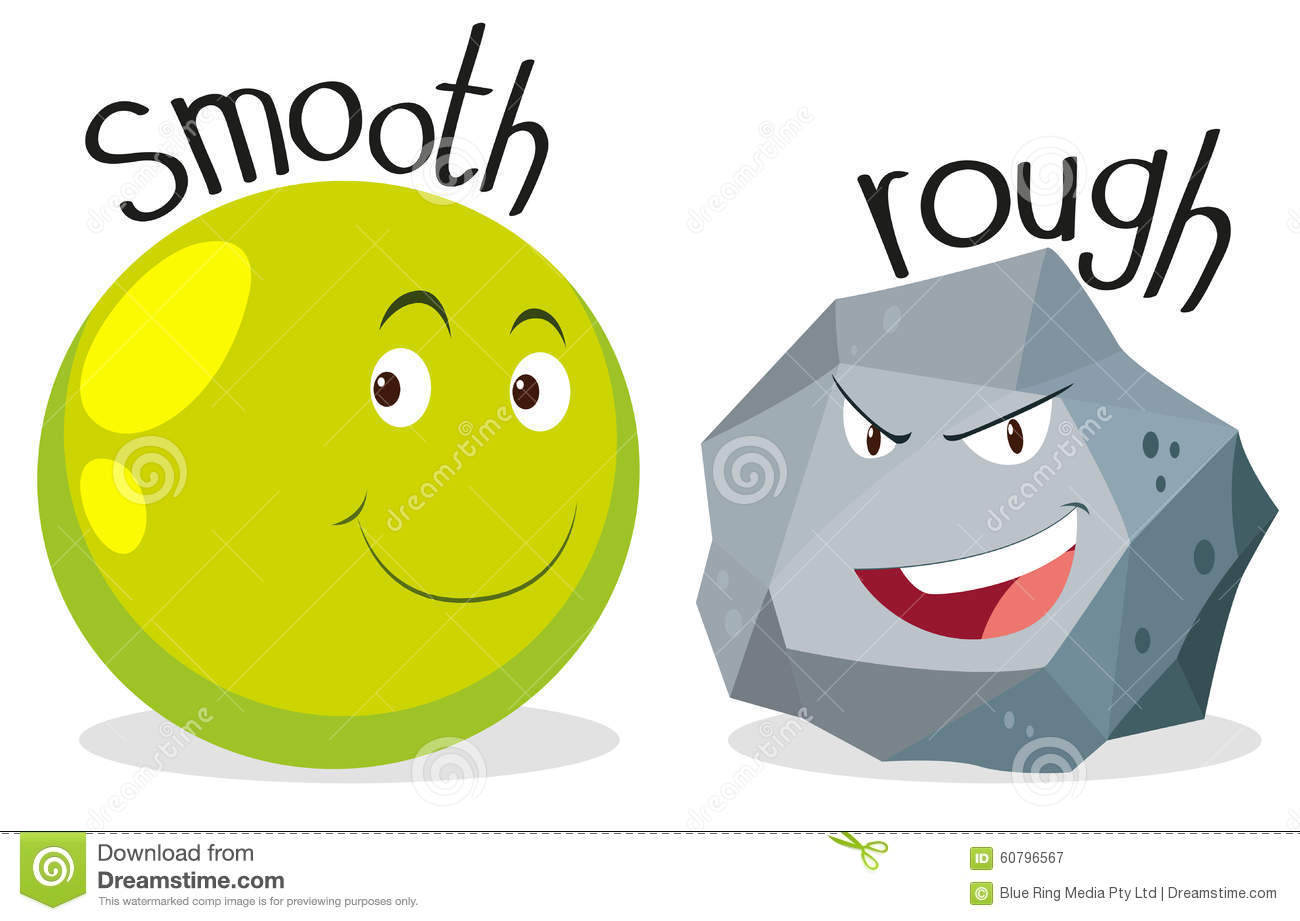 Opposite Adjectives Smooth And Rough Stock Vector