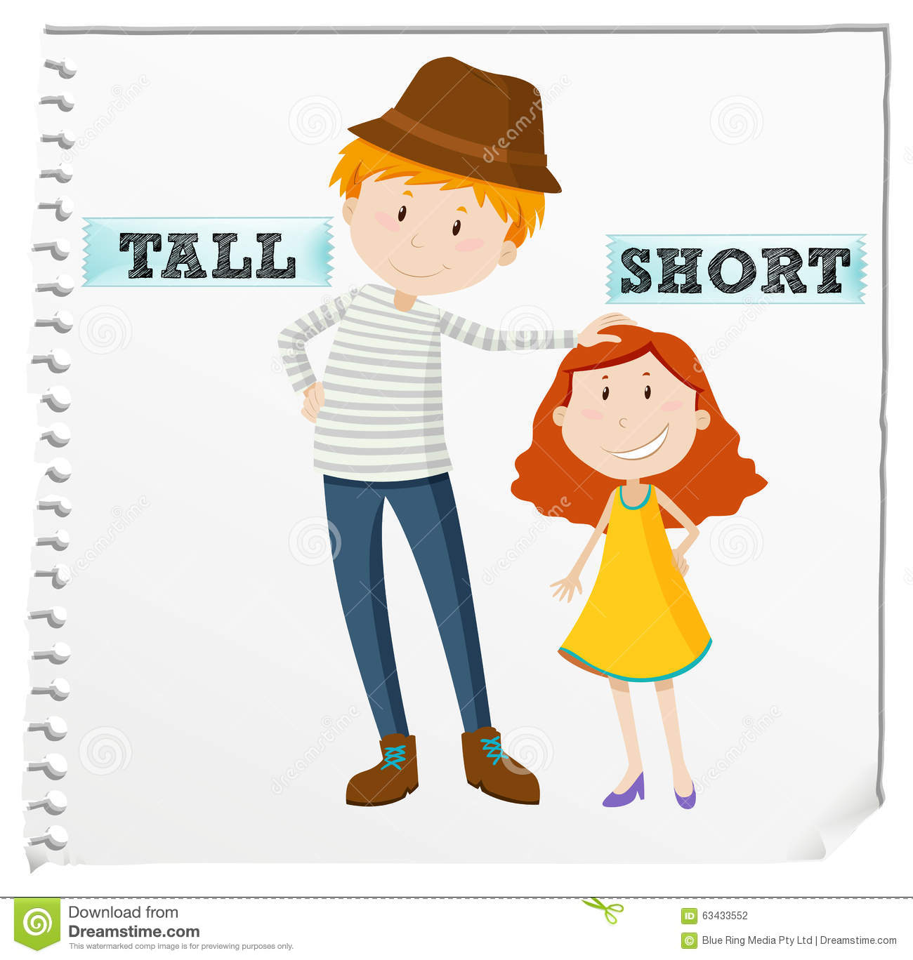 Opposite Adjectives Tall And Short Stock Vector