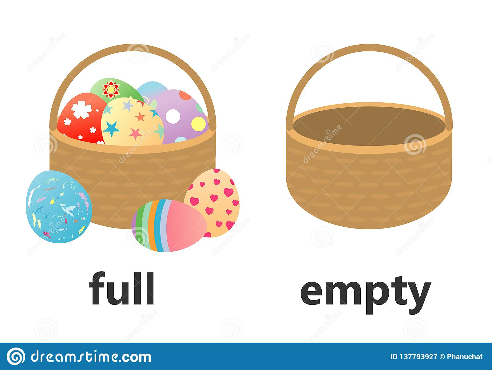 Opposite Words Full And Empty Cartoon Vector