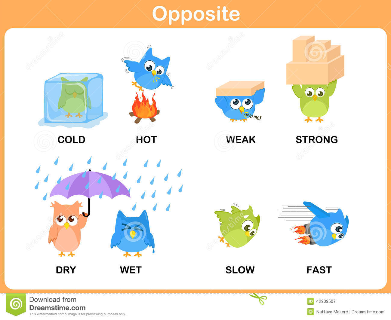 Opposite Word For Preschool Stock Vector