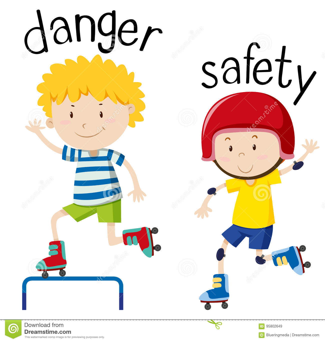 Opposite Wordcard For Danger And Safety Stock Vector