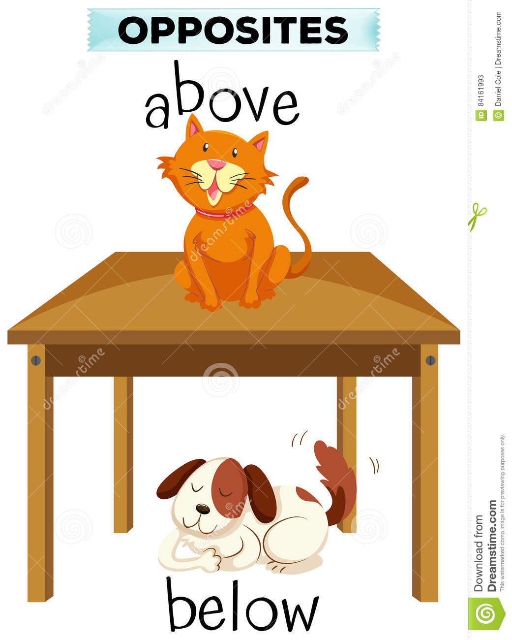 Opposite Words For Above And Below Stock Vector