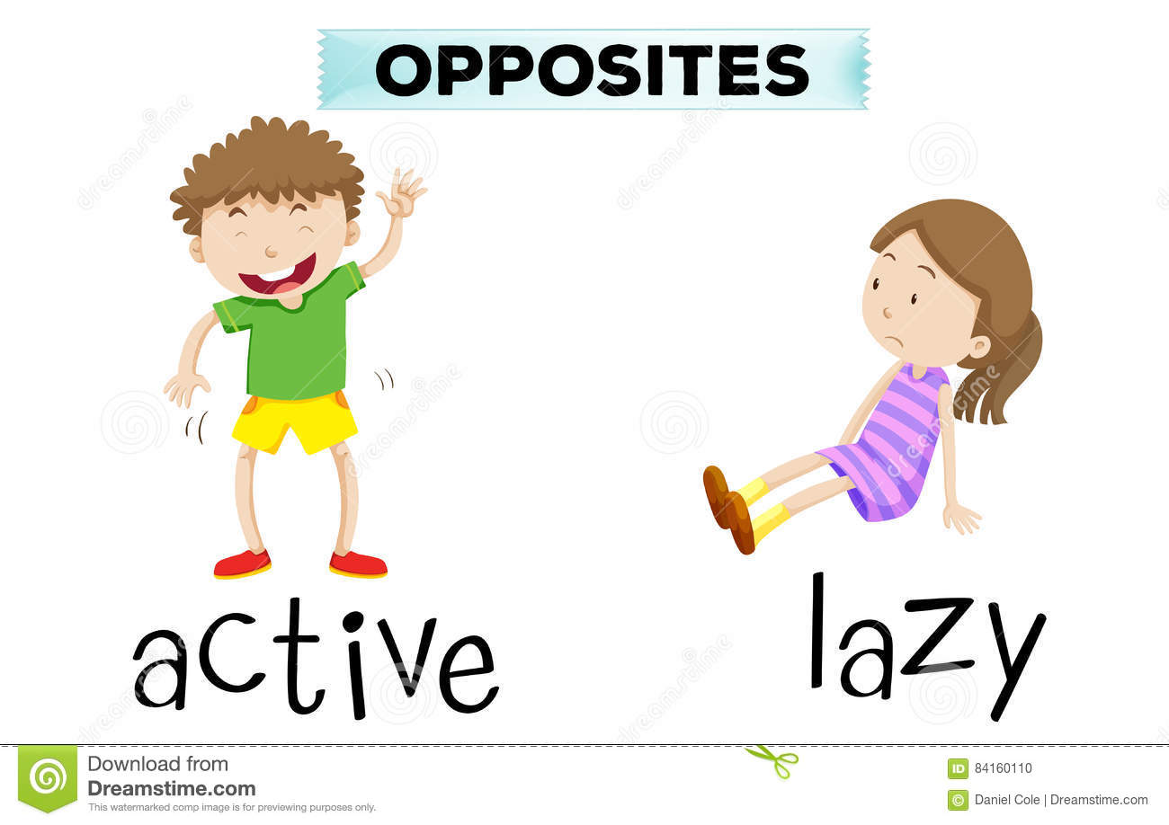 Opposite Words For Active And Lazy Stock Vector