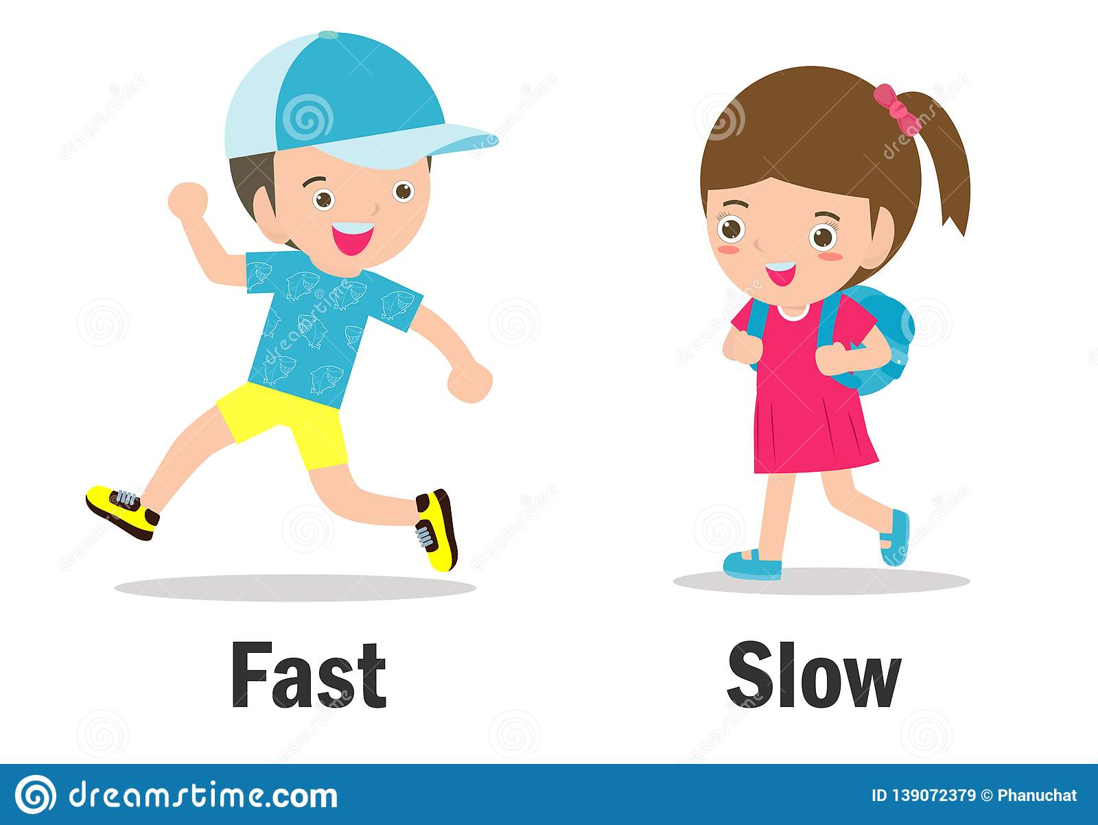 Opposite Words Slow And Fast Cartoon Vector
