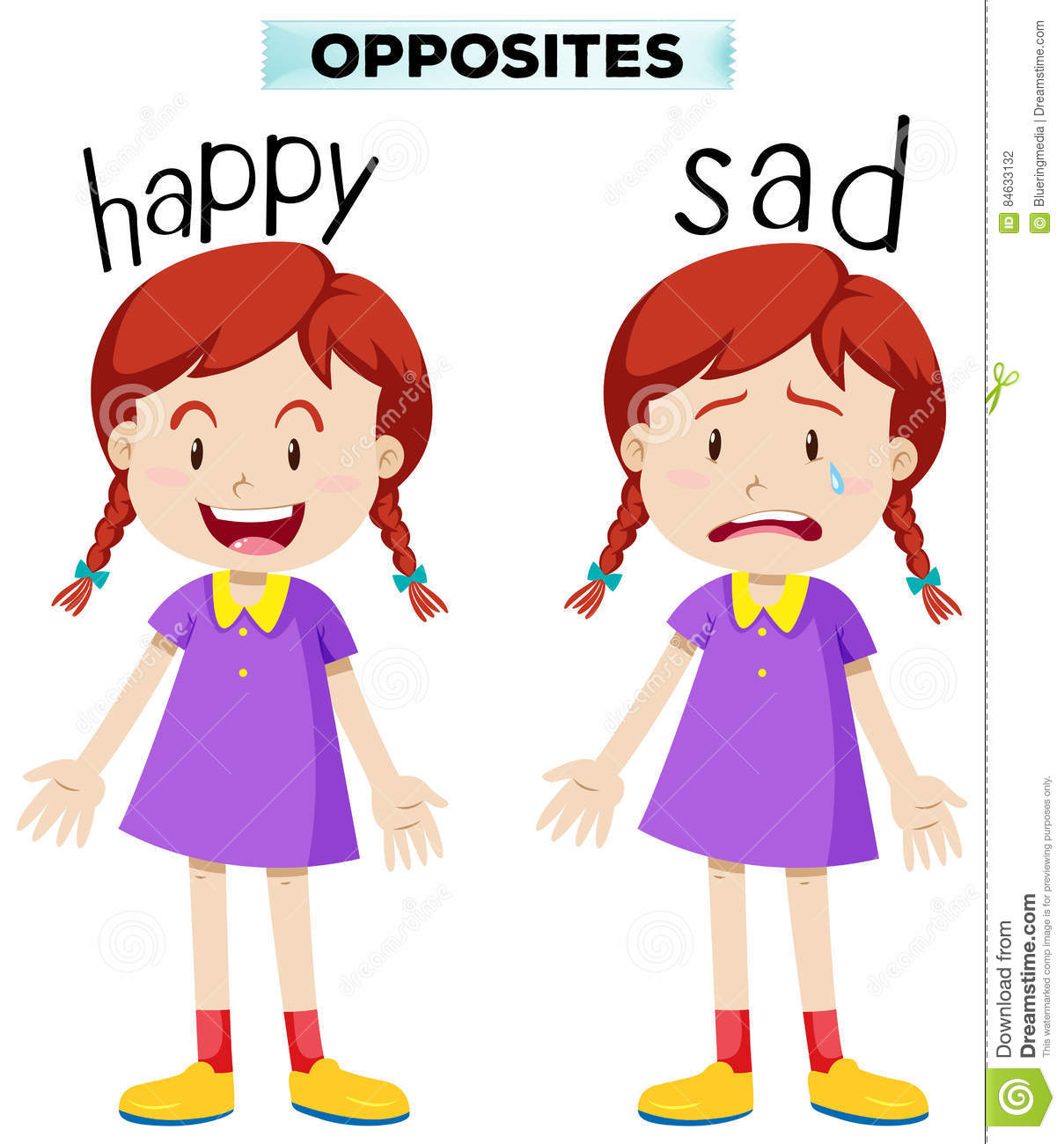 Opposite Words With Happy And Sad Stock Vector