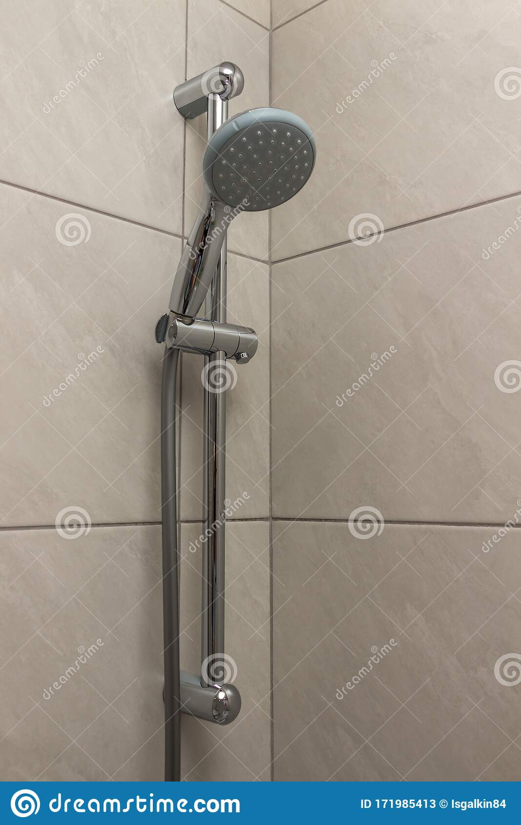 https www dreamstime com option installing shower bathroom nickel plated plumbing fixtures gray ceramic wall tiles close up head attachment image171985413