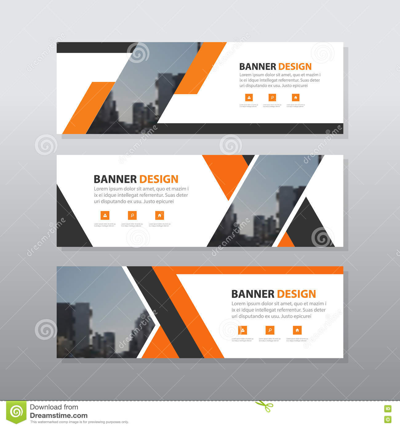 Orange Black Abstract Corporate Business Banner Template