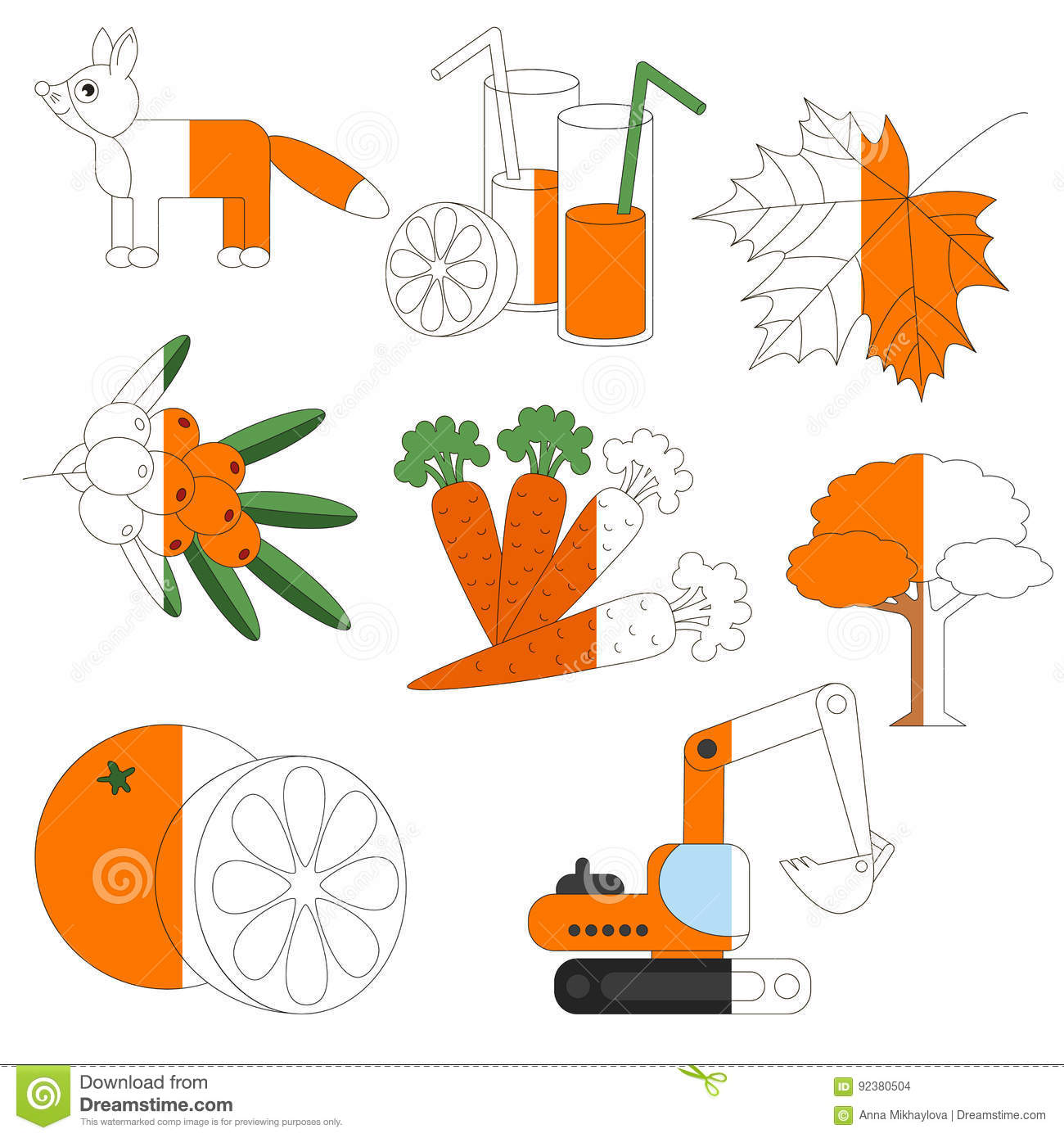 Orange Color Objects The Big Kid Game To Be Colored By