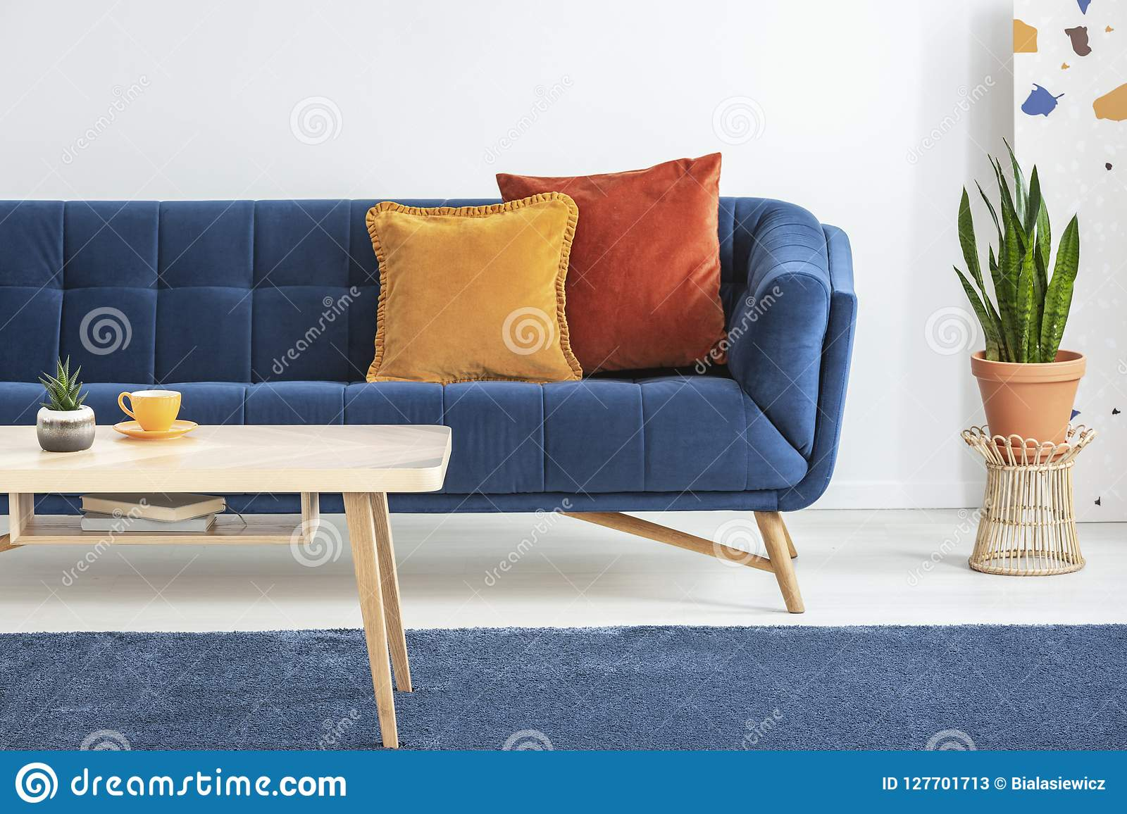 https www dreamstime com orange red cushions fancy navy blue sofa basic wooden coffee table rug white living room interior peony real photo image127701713