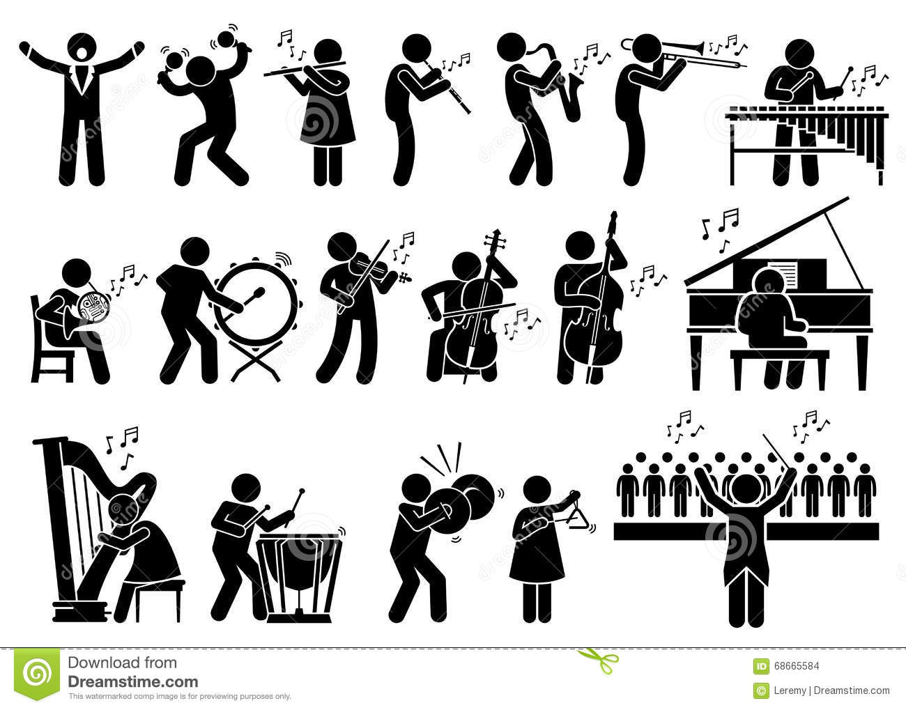 Orchestra Symphony Musicians With Musical Instruments