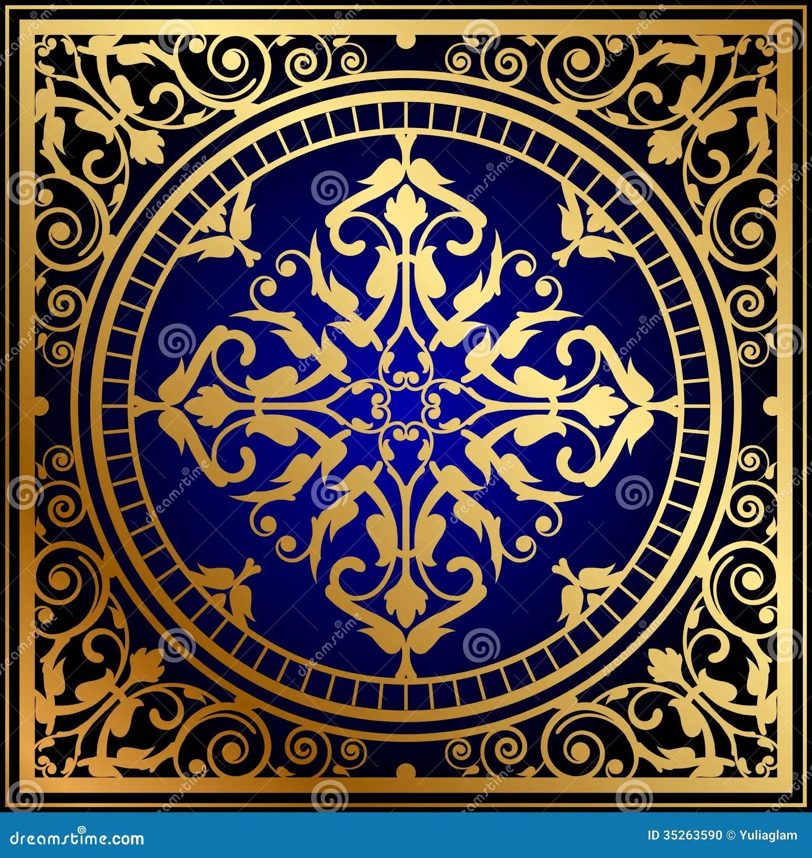 Oriental Blue Gold Rug Stock Vector Illustration Of
