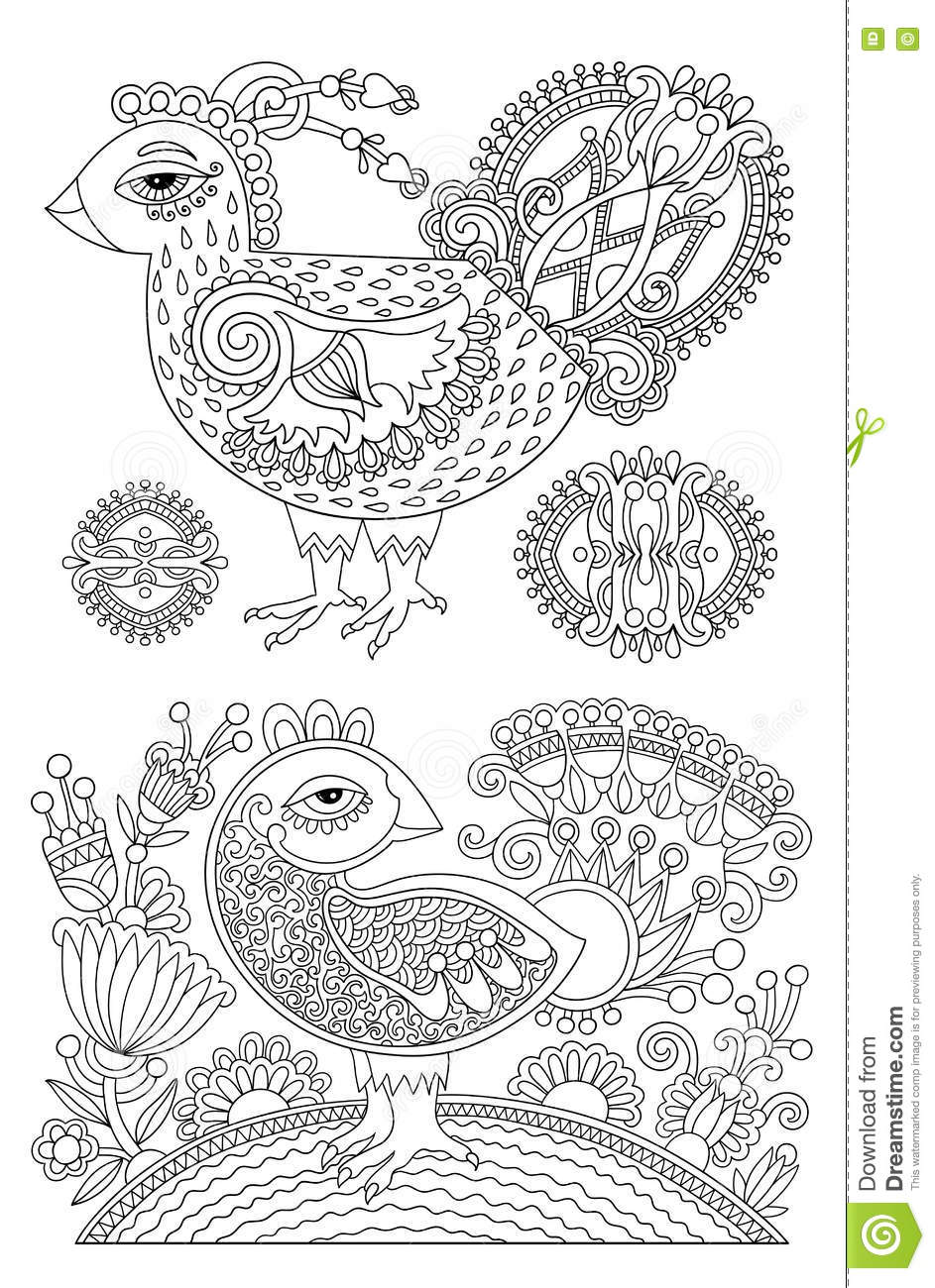 Original Black And White Line Drawing Page Of Coloring