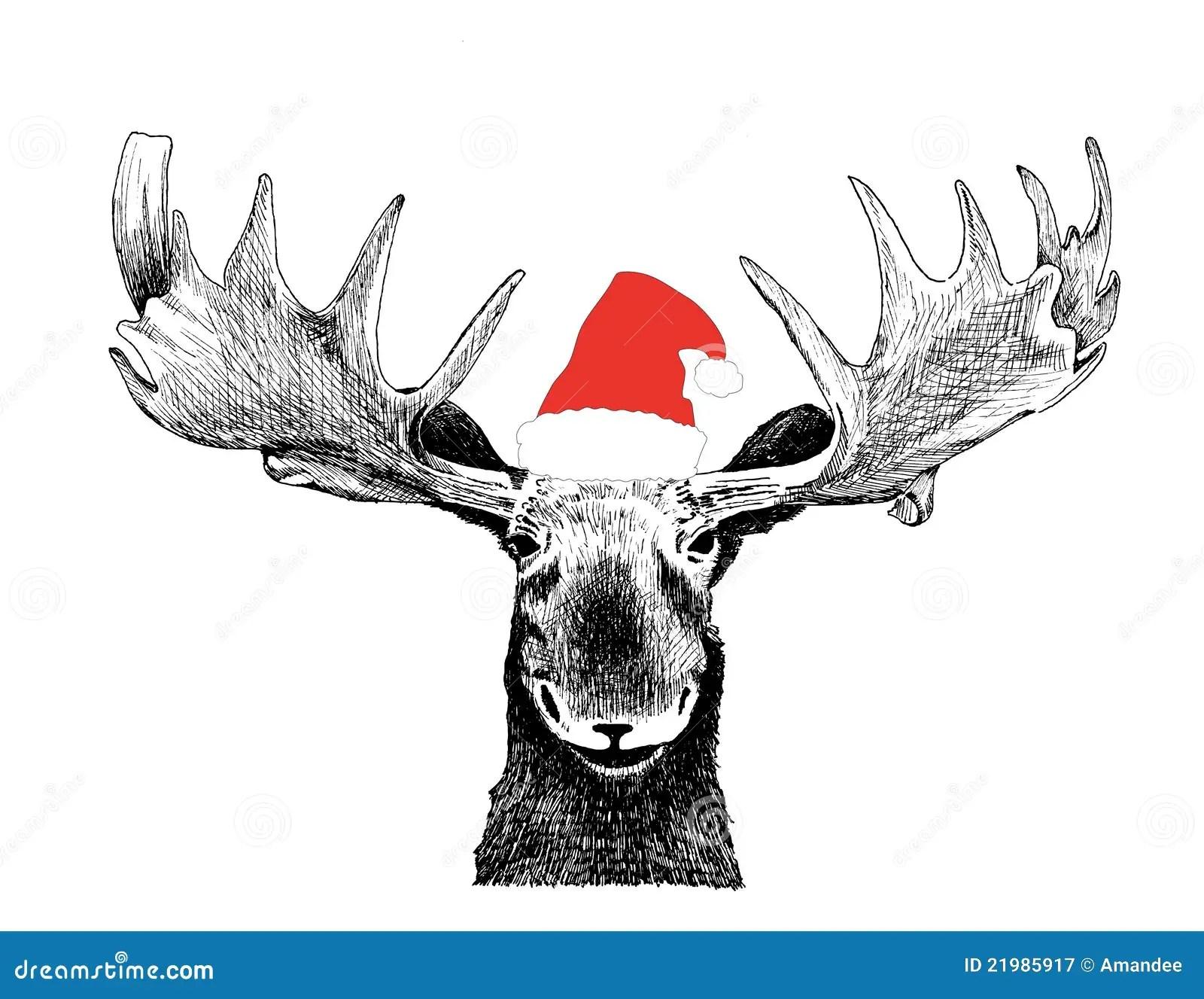 Orignaux Droles De Noel Avec Le Chapeau Du Pere Noel