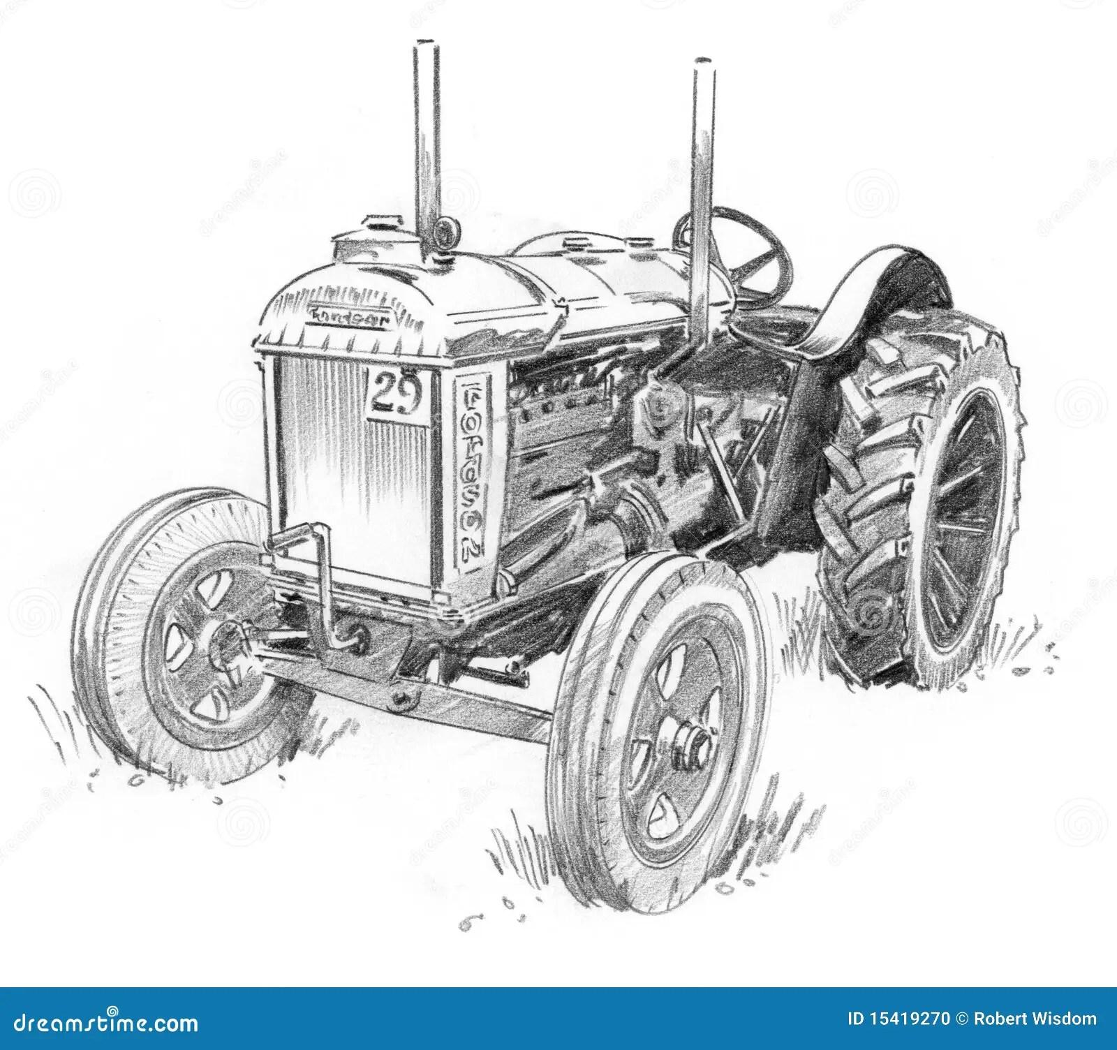 Oude Tractor Stock Illustratie Illustratie Bestaande Uit