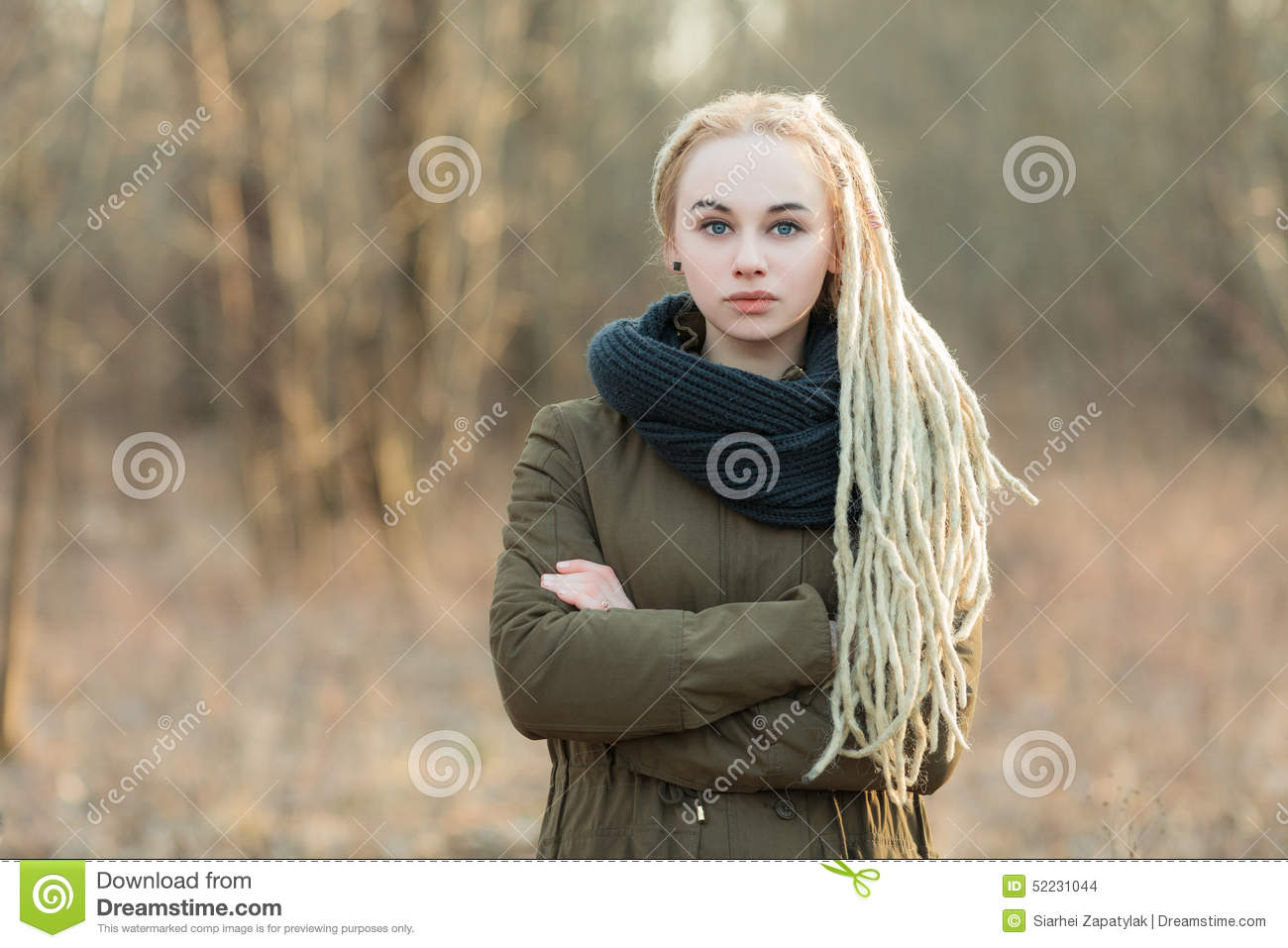 Oung Beautiful Blonde Hipster Woman In Scarf And Parka