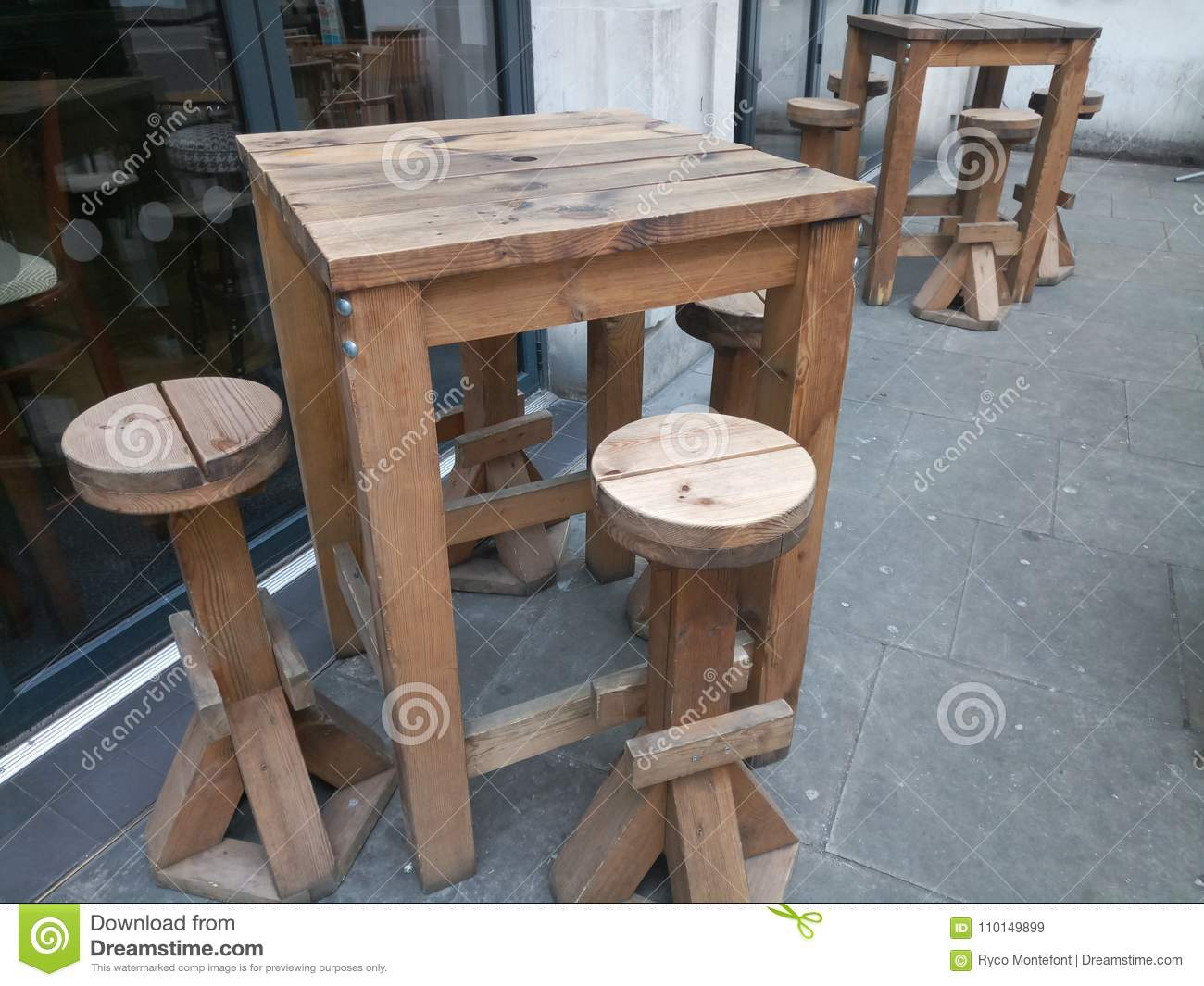 Outdoor Bar Table Stock Image Image Of Table Tall 110149899