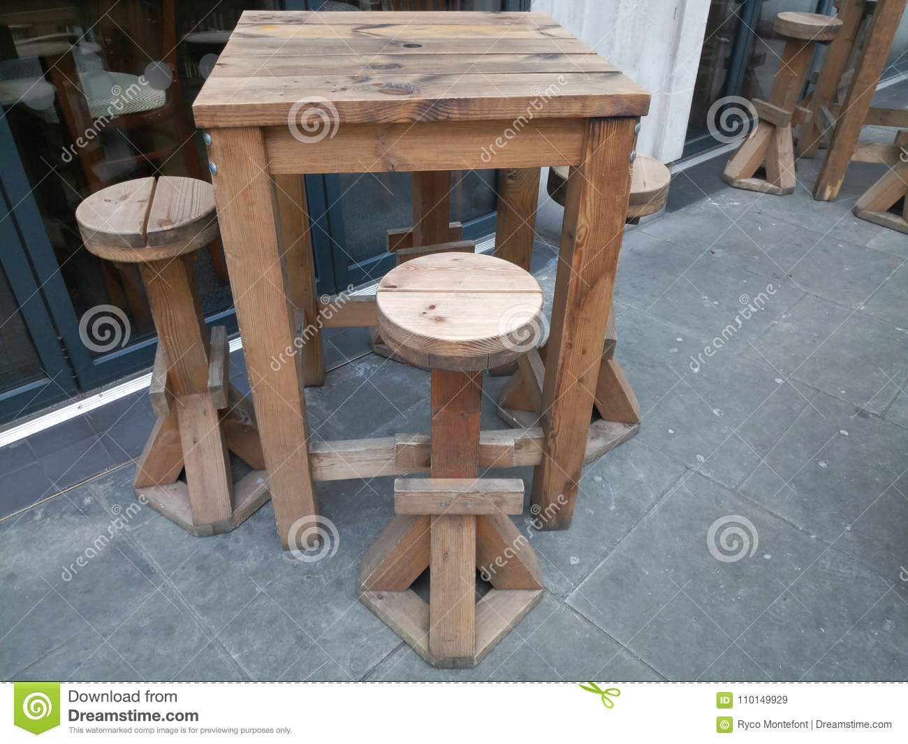https www dreamstime com outdoor bar table tall high wooden bar tables high wooden chairs image110149929