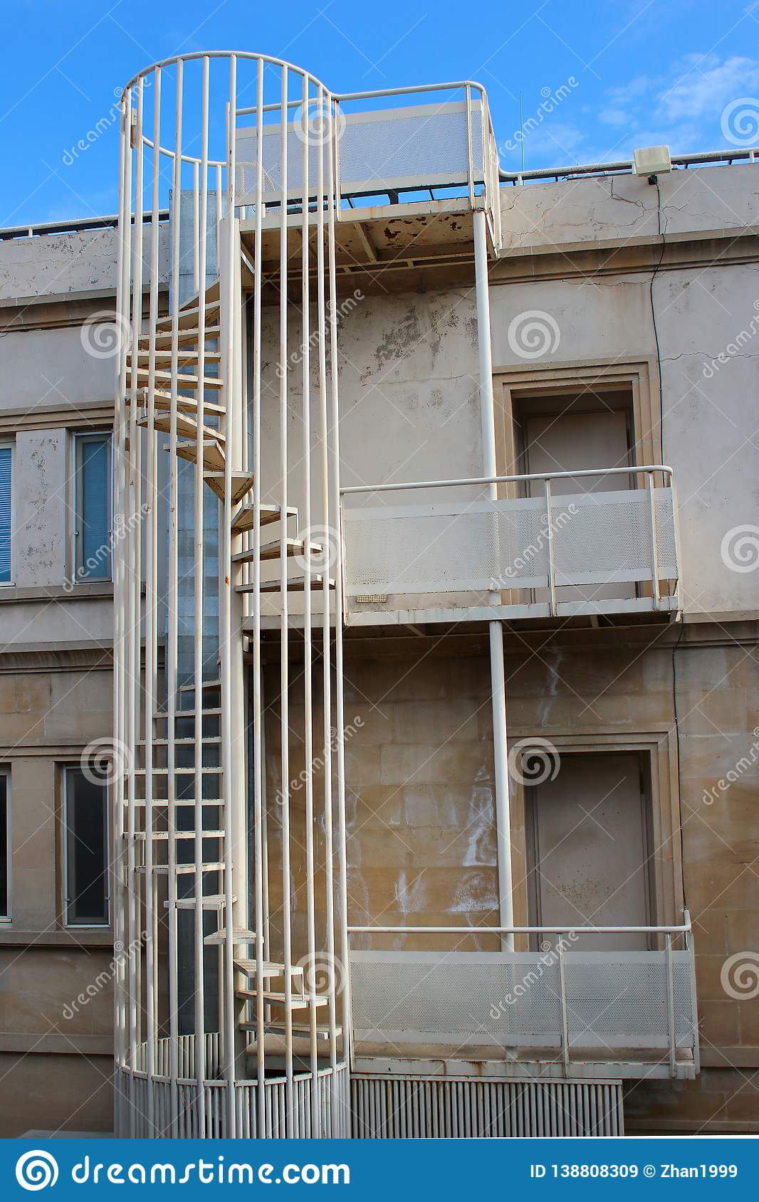 Outdoor Spiral Stairs Fire Escape On A Building Stock Image Image Of Safe Exterior 138808309