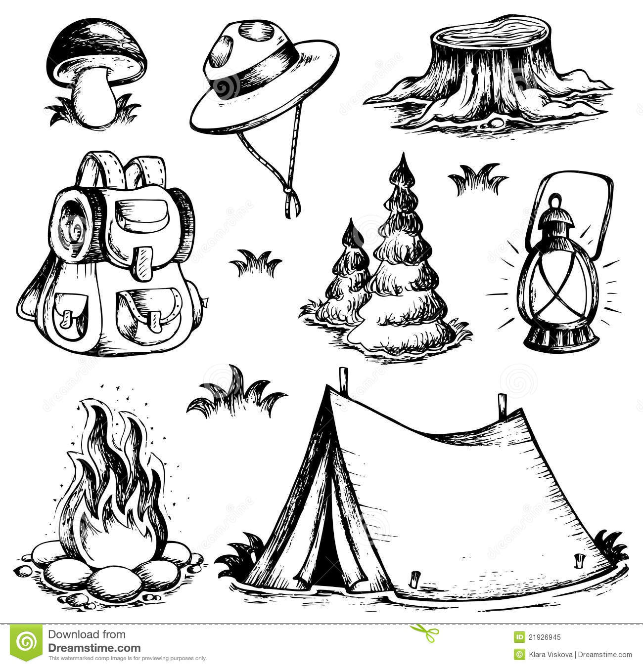 Outdoor Theme Drawings Collection Royalty Free Stock Photo